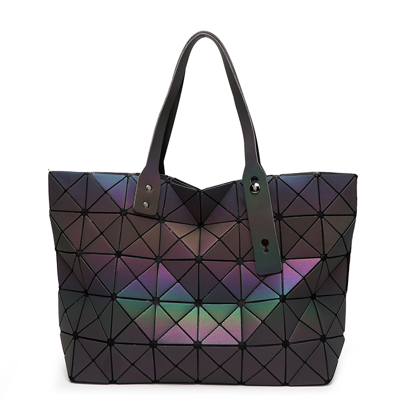 New Fashion Luminous Women Bao Bao Tote Geometry Sequins Plain Folding Bags Famous Brands Women's Handbags Lady's Shoulder Bag geometric lattice geometry package inferior smooth sequins mirror plain folding handbags women bags handbag women famous brands