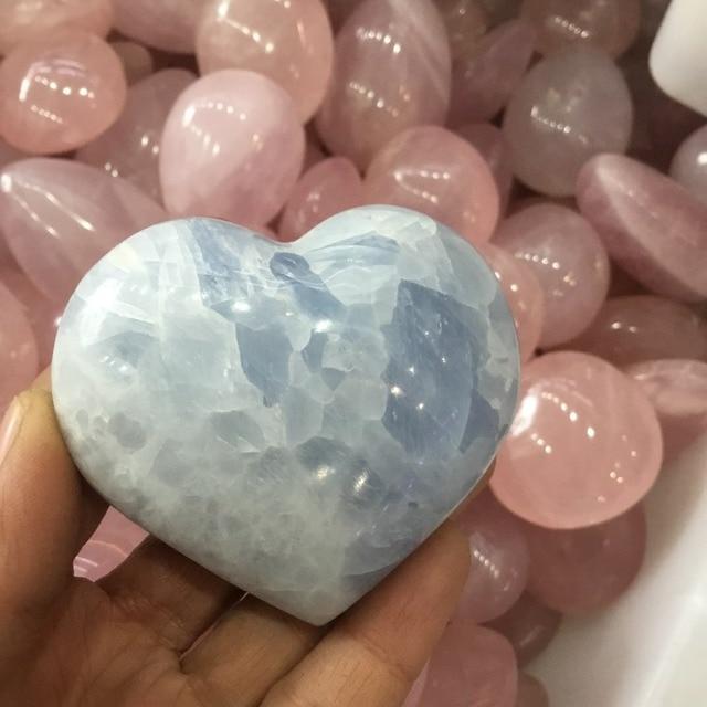 טבעי כחול celestite אבנים מלוטש לב צורת אבן