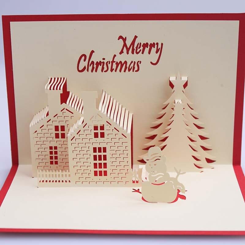 3d casa tarjeta de inicio creativo kirigami y origami pop up saludo y tarjeta de regalo feliz navidad en de en aliexpresscom alibaba group - Tarjeta De Navidad En 3d