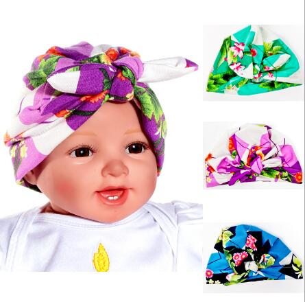 Fashion Indian Girls Head Wrap Cap baby kids rabbit ear turban Bandana Hijab indian caps Cloche Hair Cover Flower Hat skullies 2017 fashion new arrival indian yoga turban hat ear cap sleeve head cap hat men and women multicolor fold 1866688
