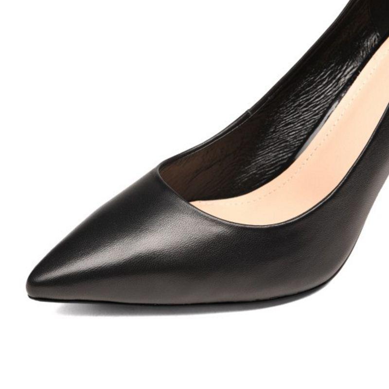 Mujer Genuino Toe Cuero Partido Del Mujeres 34 negro Tamaño Thin Talón Señaló Calzado Bombas Alto Simples Zapatos Beige 39 Razamaza qtg0xzwz