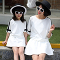 2016 New Summer Mom and Daughter Dress Matching Mother and Daughter Family Clothes Girls and Mom Dress +T-Shirts   Family fitted