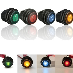1/2/6x 12V/24V For Car Boat Round LED Rocker Switch Button on/off SPST Red Blue Green Yellow Rocker Switch Waterproof