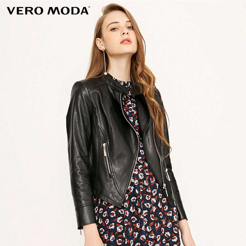 Vero Moda Brand NEW sheep   leather   fashion solid color O-neck zipper decoration useful pocket   leather   coat women| 318110510
