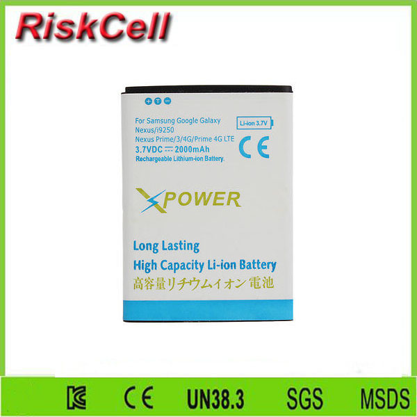 Free customs taxes 500pcs/lot  EB-L1F2HVU 2000mAh Rechargeable Battery for Samsung Galaxy Nexus 3 Prime i9250 GT i9250