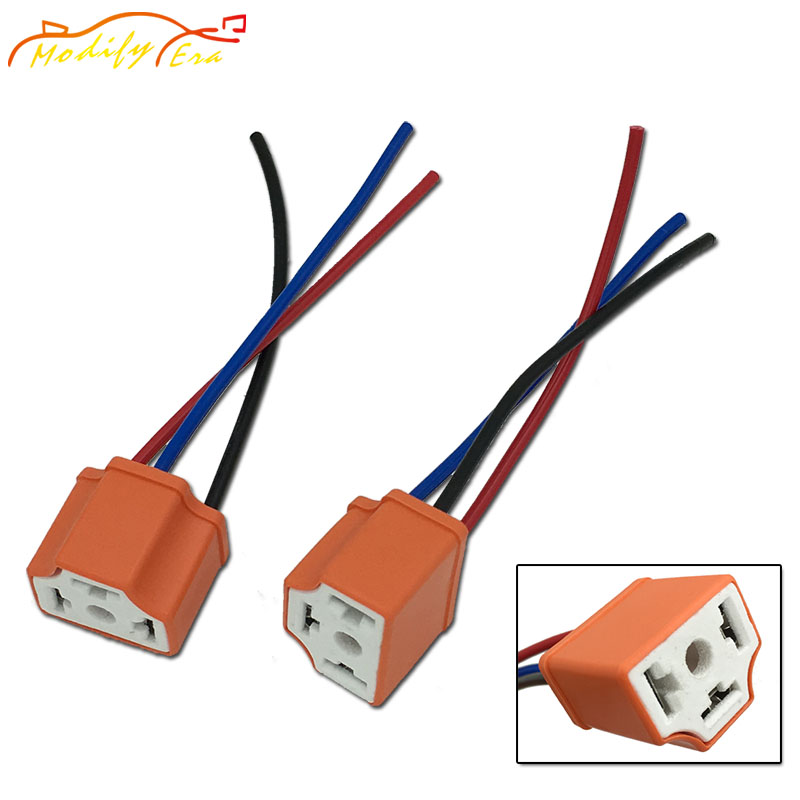 Modify.Era 2pcs H4 9003 HB2 Led Bulbs Lamp Socket Plug Adapter Connector Harness Wiring For Car Headlight Fog Lights Car Styling