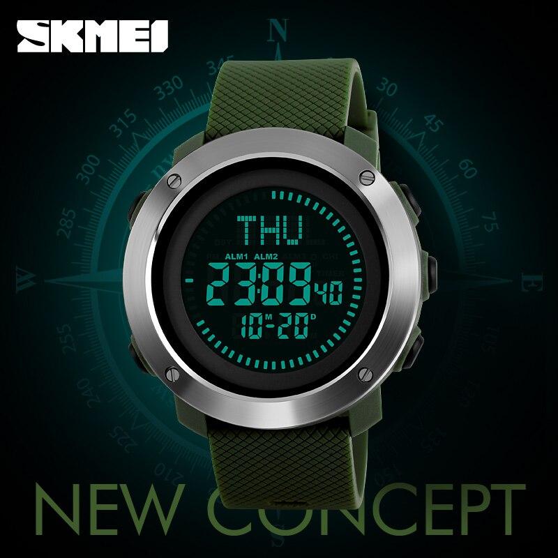 Bescheiden Skmei Luxus Marke Sport Kompass Uhr Männer Edelstahl Wasserdichte Digital Armbanduhren Fashion Outdoor Wandern Sport Uhren