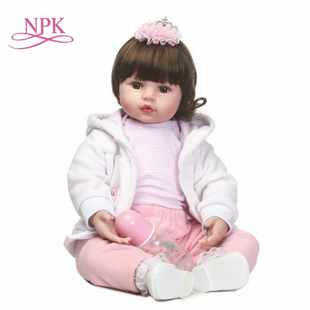 цена на NPK Baby Doll soft cloth Body Silicone Adorable Lifelike Toddler Baby Bonecas Girl Kid Bebe Reborn Dolls Girl's birthday gift