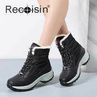 RECOISIN Fashion Women Boots New 2017 Brand Waterproof Shoes Woman Warm Winter Snow Boots Fur Plush
