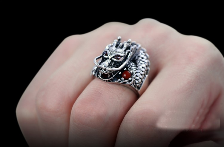 Cool 925 Sterling Silver Red Eyes Dragon Ring in hand