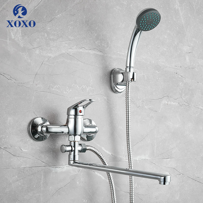 30cm Outlet Pipe Bathtub Shower Faucet Chrome with Shower Head Bathroom Cold and Hot Water Mixer Tap HB003