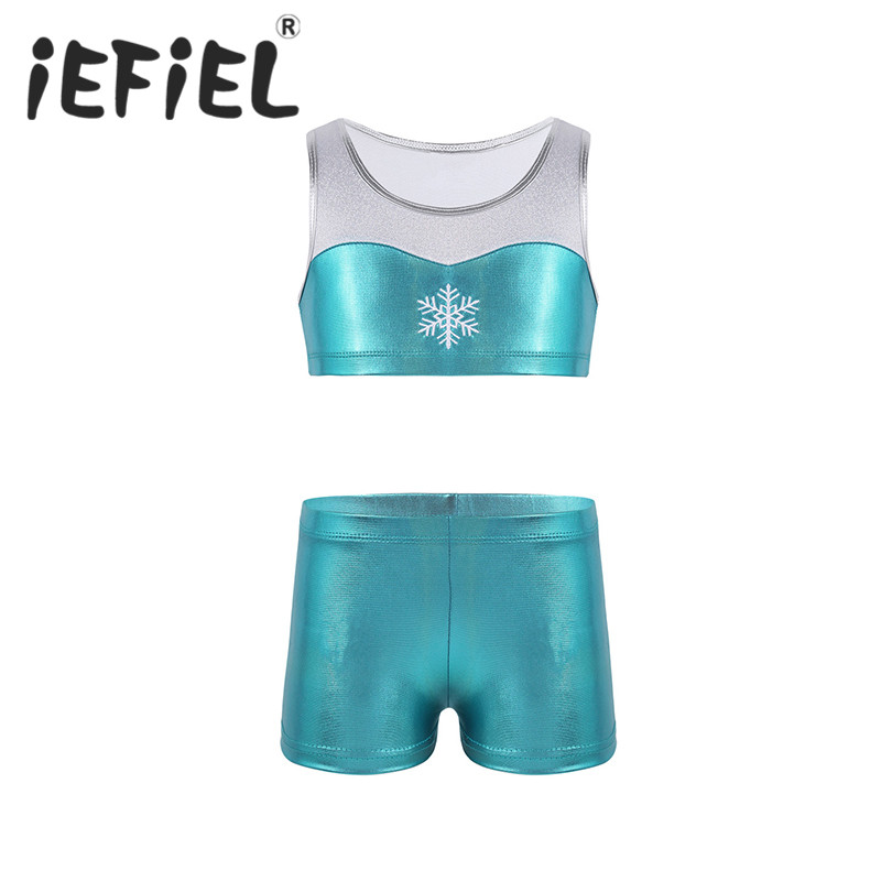 iEFiEL Kids Girls Tankini Outfit Shiny Snowflake Embroidery Tank Top with Bottoms Set Ballet Dance Gym Sports Workout Dancewear