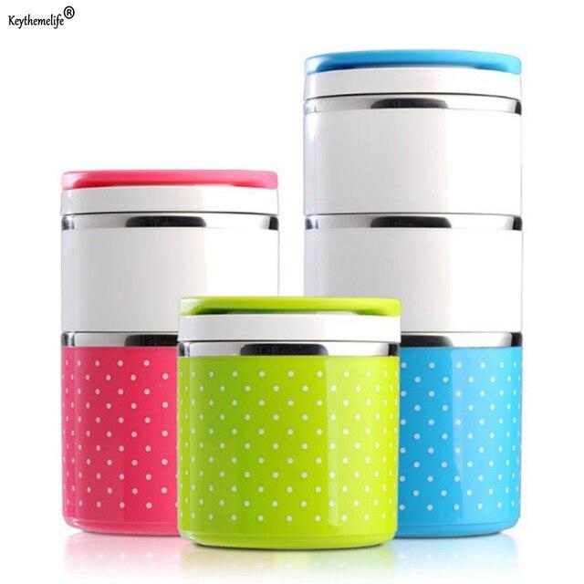 Портативный Нержавеющаясталь Коробки для обедов Bento Box Карамельный цвет термос для Еда контейнеры Коробки для обедов Столовая посуда 1D