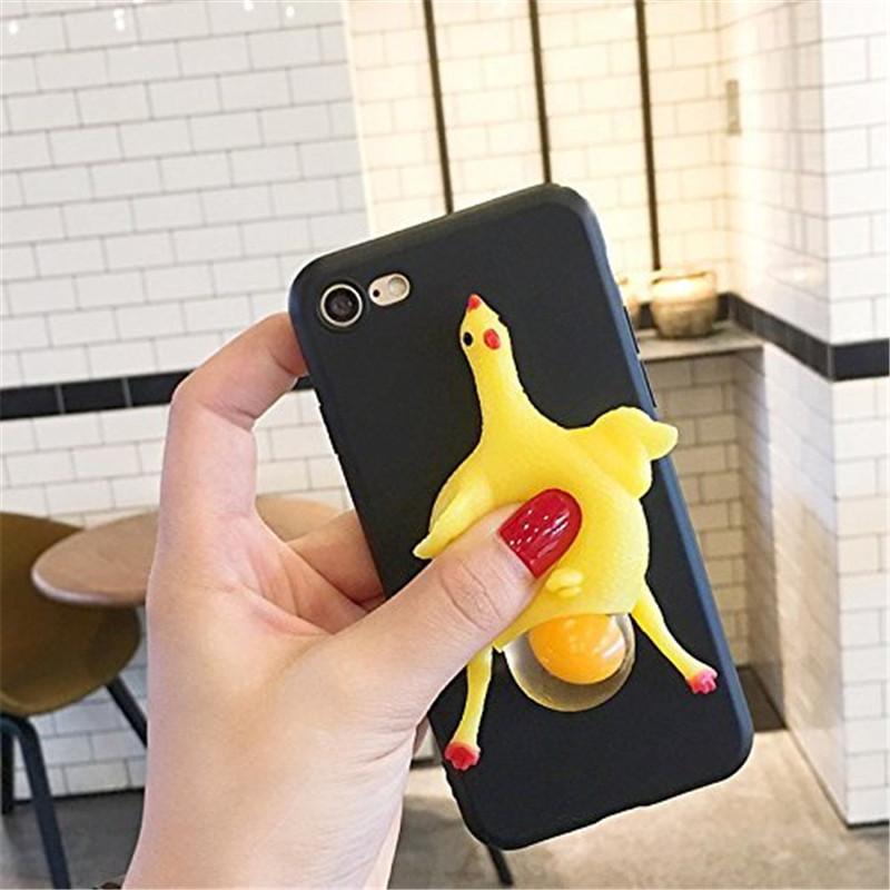 3D Funny Cute Soft Squeeze Chicken Lay Egg Stress Relieve Relax Poke Squishy Toys Animals Case For Google Pixel 2/Pixel XL/2XL