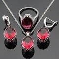 Red Ruby Criado Brincos de Conjuntos de Jóias Para As Mulheres de Natal Cor Prata/Anéis/Pingente/Colar Made in China Caixa de Presente livre