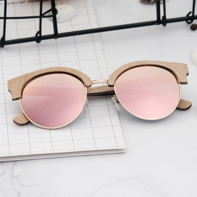 25e69644954 BOBO BIRD Women Sunglasses Polarized Wood Sun Glasses Retro Pink Gold Lens  Glasses UV400 Gafas de