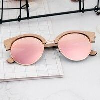 BOBO BIRD Women Sunglasses Polarized Wood Sun Glasses Retro Pink Gold Lens Glasses UV400 Gafas de sol