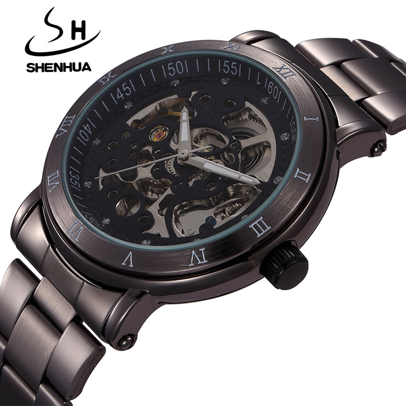 New Fashion Skeleton Black Steel Men Male Clock Shenhua Brand Hollow Cool Stylish Design Classic Mechanical Wrist Dress Watch shenhua brand black dial skeleton mechanical watch stainless steel strap male fashion clock automatic self wind wrist watches