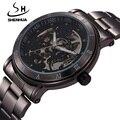Nova Moda Marca Shenhua Skeleton Black Men Masculino Relógio de Aço Oco Fresco Elegante Design Clássico Mecânica Relógio de Pulso Vestido