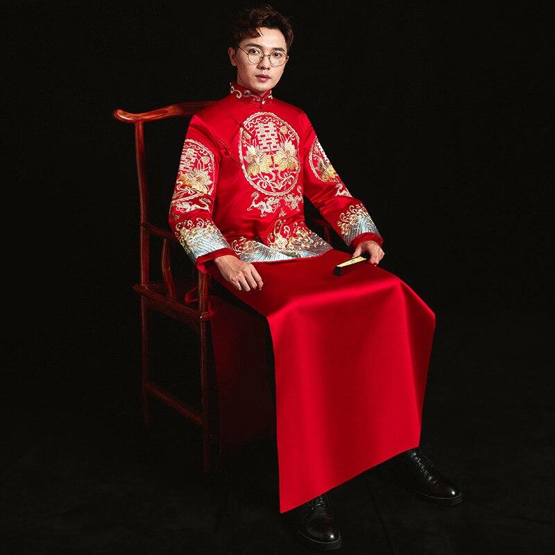 Bruidegom Vintage Losse Cheongsam Traditionele Chinese Trouwjurk Rood Satijn Qipao Borduurwerk Draak Kostuum Vestido Oosterse Mens Geschikt Voor Mannen En Vrouwen Van Alle Leeftijden In Alle Seizoenen