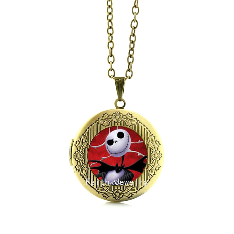Jack skellington locket necklance Art Picture glass cabochon Dome Fashion jewelry for Christmas gift, for friends HH134