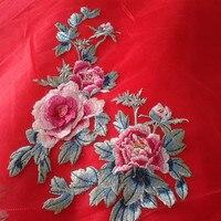 Di alta qualità grande fiore di peonia ricamo della garza tessuto africano del merletto guipure applique cucire cloth dress accessorio decorare patch