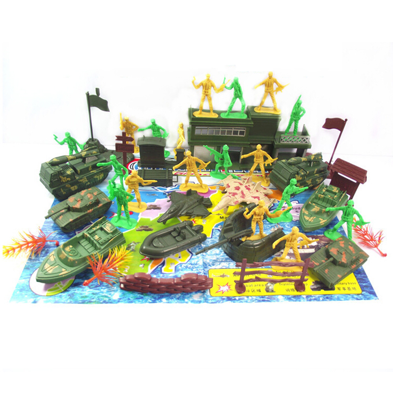 38Pcs Plastic Figures Soldiers Army Men Base Model Playset Toys Collection New