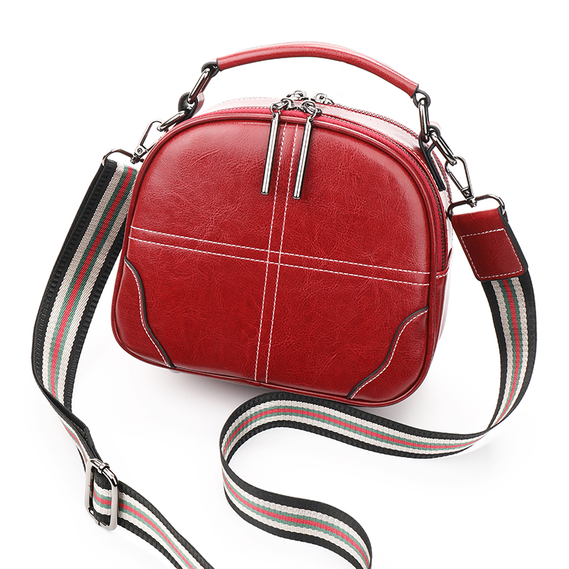 AOEO Crossbody Bags For Women Double Shoulder Strap Split Leather Girls Cross Design Small Handbag Ladies