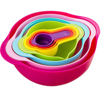 8pcs Kitchen Bowl Kitchenware Set Multifunctional Bowls Rainbow Color Measuring Cup Mixing Rainbow Colander Measuring KC1111
