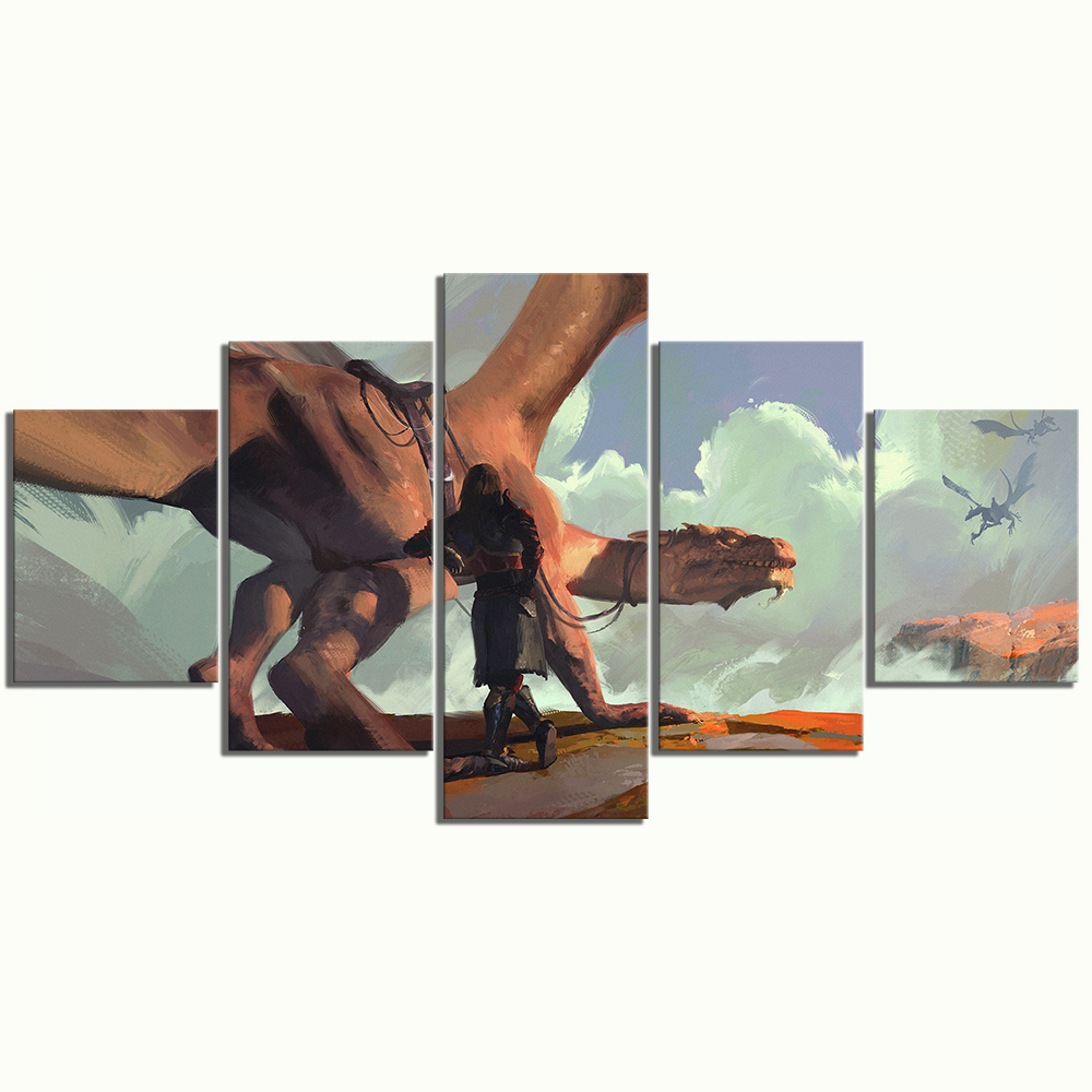 5 Piece HD Fantasy Art Drawing Paintings Dragon Artwork Wall Art Canvas Paintings for Living Room Wall Decor 3