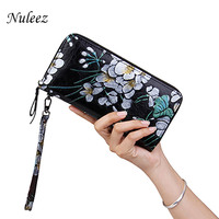 Nuleez wallet women genuine leather cowhide hand engraving delicate floral long purse best gift 2018 new