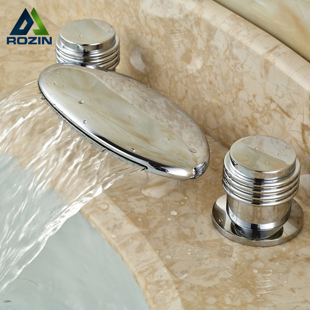 Modern Two Handle Widespread 3 Hole Basin Sink Faucet Deck Mounted Chrome Waterfall Mixer Taps