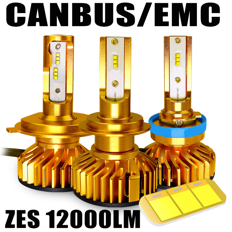 BAGELED Canbus LED H4 Led <font><b>H7</b></font> led with ZES Chips <font><b>12000LM</b></font> 72W H1 H3 HB3 9005 LED 9006 hb4 H8 H11 Fog Light 4300K 6500K 8000K 5000K image