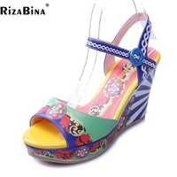 RizaBina Chinese Style Women Real Leather High Wedges Sandal Women Ankle Strap Trifle Sandal Summer Vintage