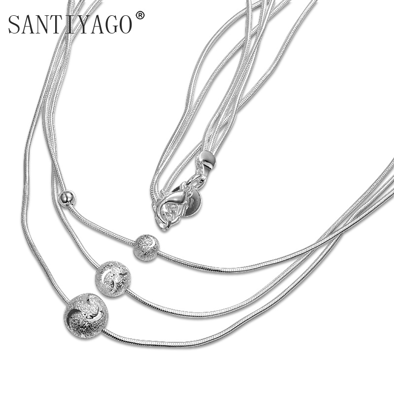 Three Multi Layers Necklace Silver Color Long Chain Beaded