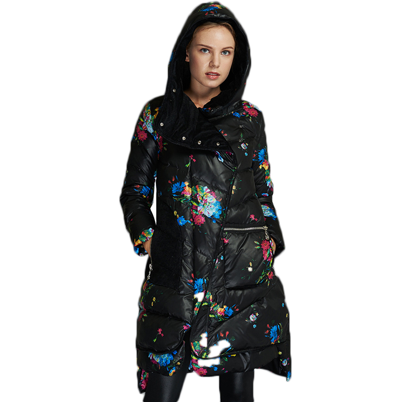 Large size Winter Coat New Printing Slim Women down Jacket Long sleeve Hooded Jacket Thick White Duck down Warm Down Jacket