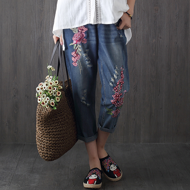 2017 Women Vintage Embroidery Flower Jeans Pants Summer Autumn High Waist Denim Straight Pant Plus Size M-3XL F257 flower embroidery jeans female blue casual pants capris 2017 spring summer pockets straight jeans women bottom a46