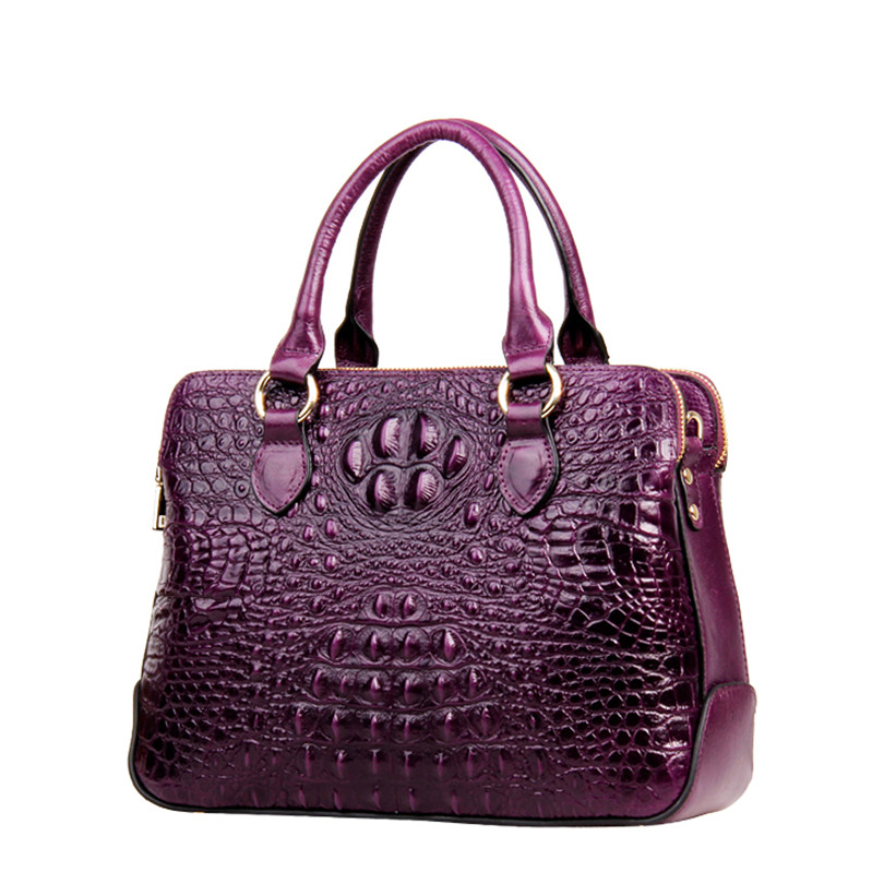 Genuine Leather Women Bag\Handbag Fashion Crocodile Pattern Tote Cowhide ladies' Casual Shoulder Bag Messenger Bag Big Bag~17B22 women crocodile pattern handbag fashion casual tote large shoulder bags ladies brand genuine leather shopping bag gift hand bag