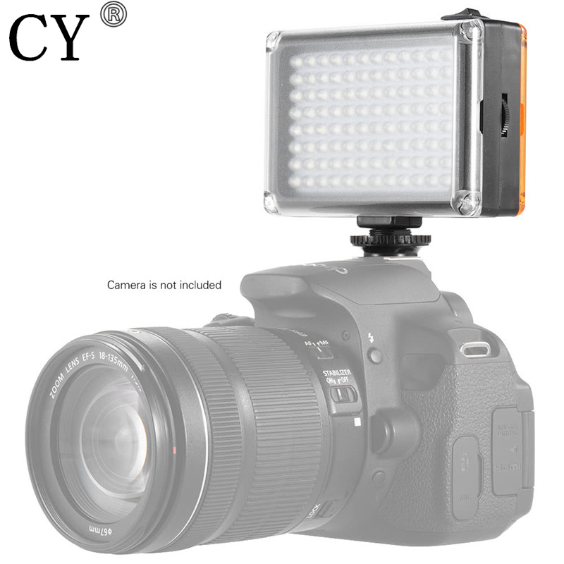 New AD-96 Mini Portable On-camera 5400K / 3200K CRI85 LED Video Fill-in Light Panel with White Orange Filters for DSLR Camera