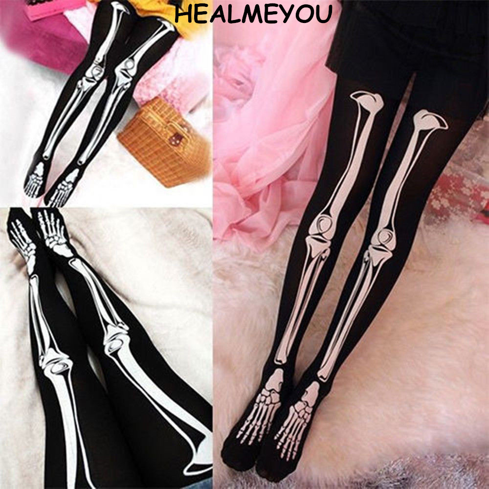 Women Skull Skeleton Bone Halloween Party Tights Pantyhose Opaque ...
