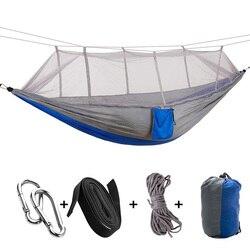 Hammock portátil dupla/única pessoa dobrada no saco mosquito hamac gancho pendurado cama para acampamento viagem kits de acampamento ao ar livre