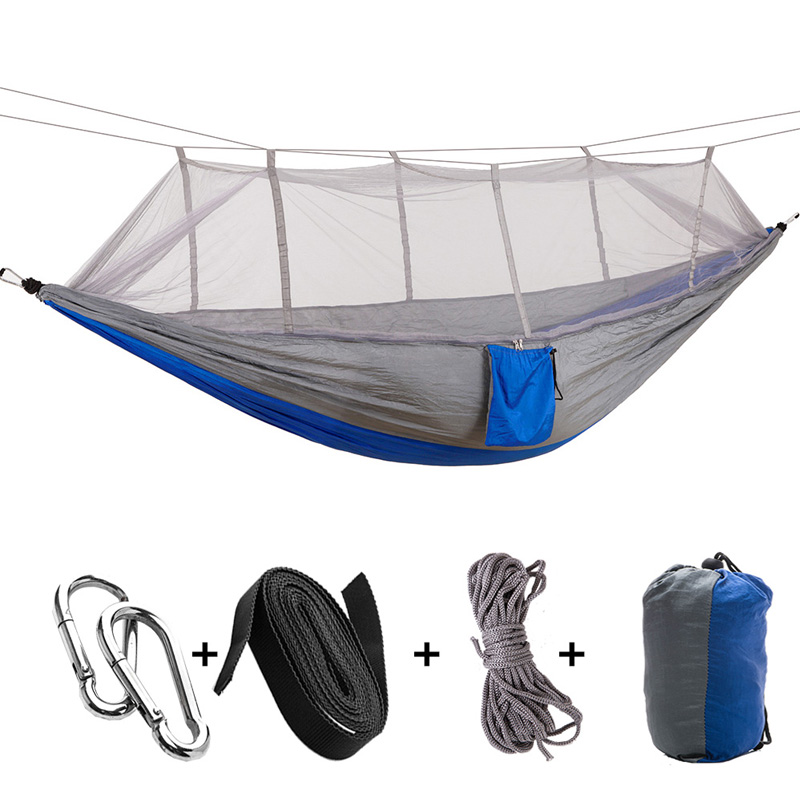 Portable Hammock DoubleSingle Folded Person In Bag Mosquito Hamac Hook Hanging Bed For Camping Travel Kits Outdoor Camping
