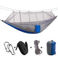 Tragbare Hängematte Doppel/Einzel Gefaltet Person In Tasche Moskito Hamac Haken Hängen Bett Für Camping Reise Kits Outdoor Camping
