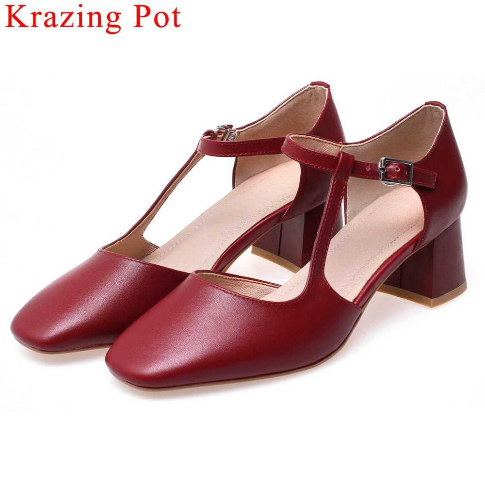 Krazing Pot genuine leather chunky med heels buckle strap hollow women pumps square toe young girls plus size party shoes L76Krazing Pot genuine leather chunky med heels buckle strap hollow women pumps square toe young girls plus size party shoes L76