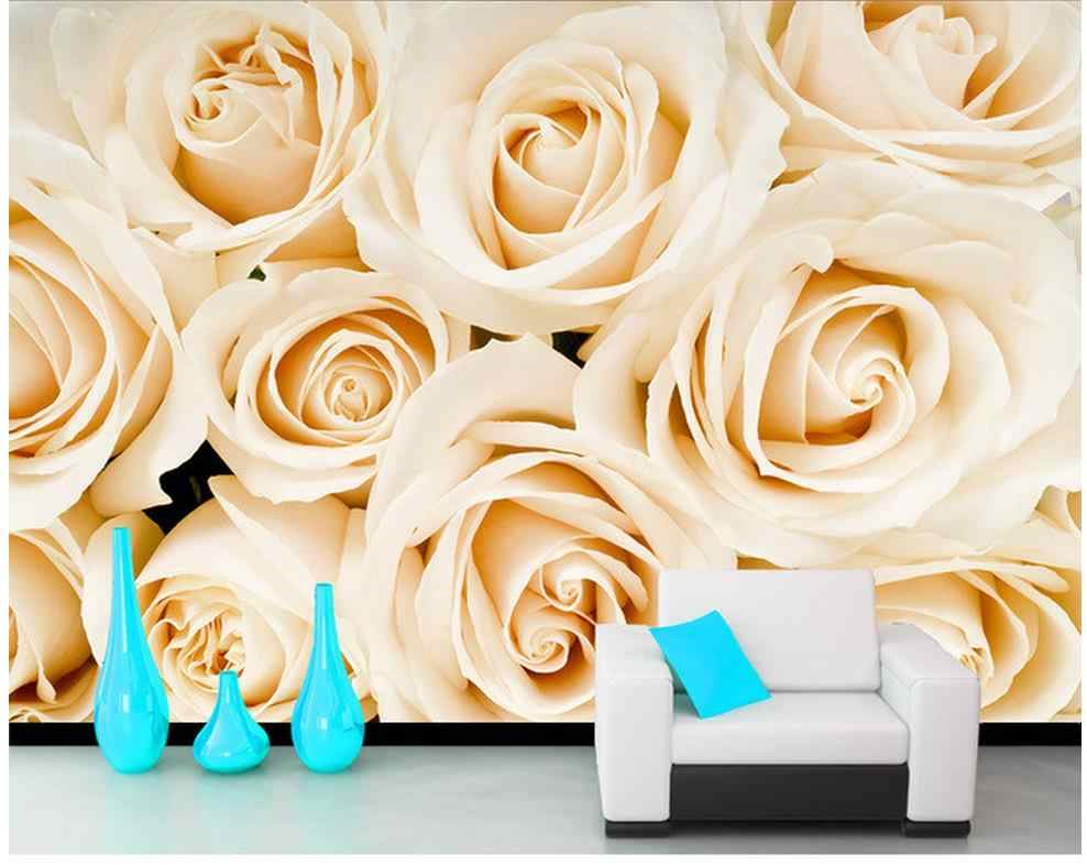 wallpaper flower Home Decoration Yellow rose European style TV background wall custom 3d photo wallpaper