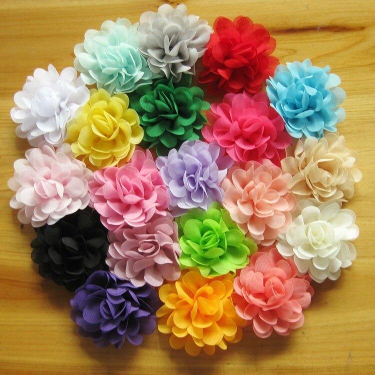 Wholesale 2.75 girls DIY Chiffon flowers Flat Back for hair headband  hairclips 20Colors 120pcs lot freeshipping fc9b80d55173