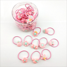 1Pcs/Lot Fashion 3cm Pink Child Hair Rubber Bands Accessories Wholesale Candy Colors Cute Elastics Rope For Girls Kids