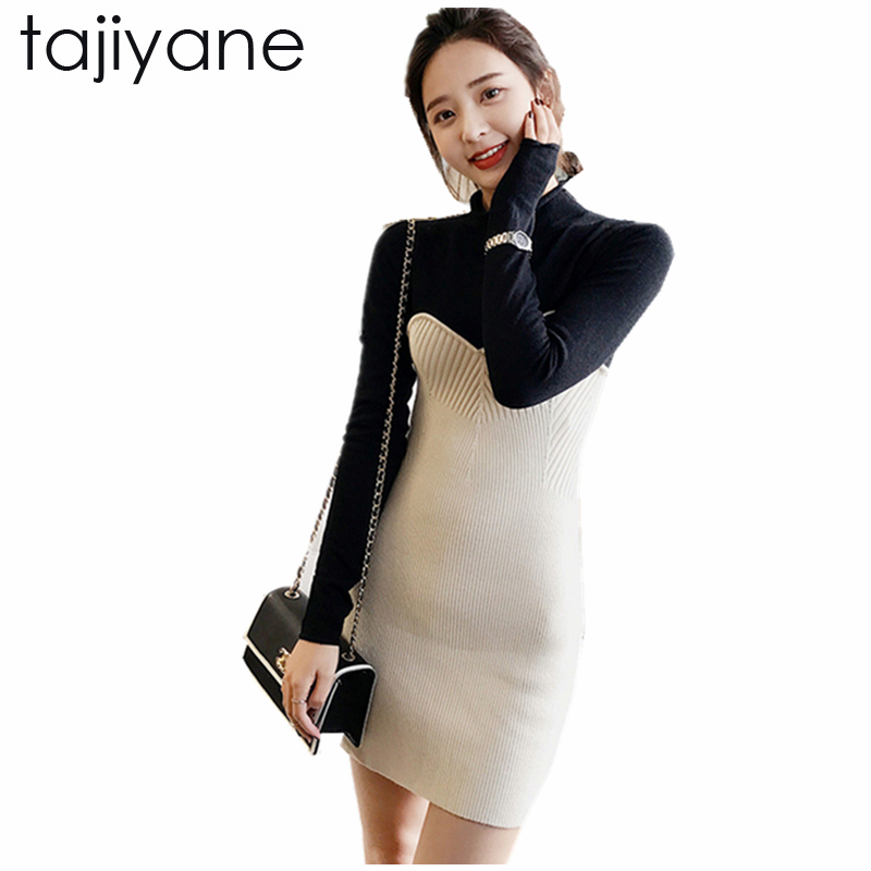 TAJIYANE Spring Women Dresses Fake two Fitness Elegant Knitted Sweater Dress 2018 New On Casual Bodycon Slim Midi Vestidos LD193 цена