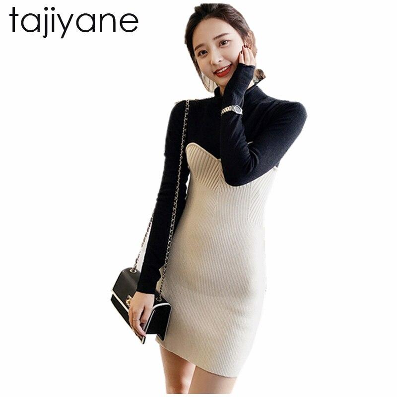 TAJIYANE Spring Women Dresses Fake two Fitness Elegant Knitted Sweater Dress 2018 New On Casual Bodycon Slim Midi Vestidos LD193