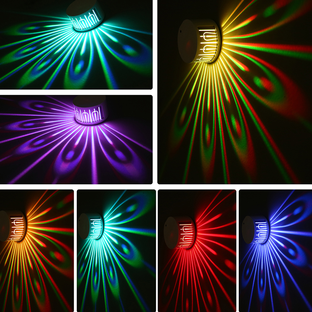 Changeable Bedroom Decoration Round Wall Colorful Peacock Safe Modern Remote Control Iron Projection Lamp Wedding Led